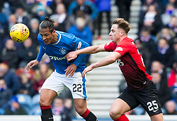 Kilmarnock's Eamonn Brophy (right) and Rangers' Bruno Alves battle for the ball during the Ladbrokes Scottish Premiership match at Ibrox Stadium, Glasgow.