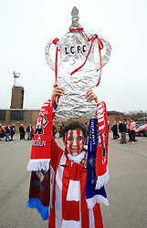 Lincoln City fan Michael Belshaw before departing from Sincil Bank in Lincoln for the Emirates FA Cup match with Arsenal.