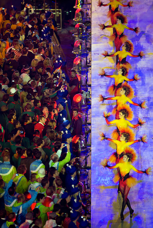 Dancers performed in front of the Olympic athletes during the Closing Ceremony at Olympic Stadium during the 2012 Summer Olympic Games in London, England, Sunday, August 12, 2012. (David Eulitt/Kansas City Star/MCT)