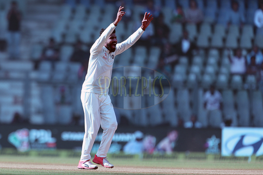 Ravindra Jadeja of India appeals during day 5 of the fourth test match between India and England held at the Wankhede Stadium, Mumbai on the 12th December 2016.<br /> <br /> Photo by: Ron Gaunt/ BCCI/ SPORTZPICS