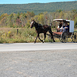 "Bellville, PA, USA - September 27, 2014: A ""white-topper"" Amish buggy used by a member of the Nebraska Amish in Kishacoquillas Valley."