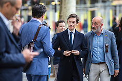 © Licensed to London News Pictures. 05/06/2019. London, UK. Conservative Party leadership contender Rory Stewart  (2-L) MP arrives at a question and answer event in central London as part of his leadership campaign. Photo credit: Rob Pinney/LNP