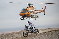AREQUIPA, Jan. 11, 2019  Jacopo Cerutti (below) of Mexico competes during the 4th stage of the 2019 Dakar Rally Race, near La Joya, Arequipa province, Peru, on Jan. 10, 2019. Jacopo Cerutti finished the 4th stage with 4 hours 3 minutes and 54 seconds. (Credit Image: © Xinhua via ZUMA Wire)