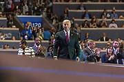 VP Biden talks across the stage at teh 2016 DNC