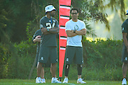 January 28 2016: Oakland Raiders safety Charles Woodson and Eric Davis talk on the sidelines during the Pro Bowl practice at Turtle Bay Resort on North Shore Oahu, HI. (Photo by Aric Becker/Icon Sportswire)