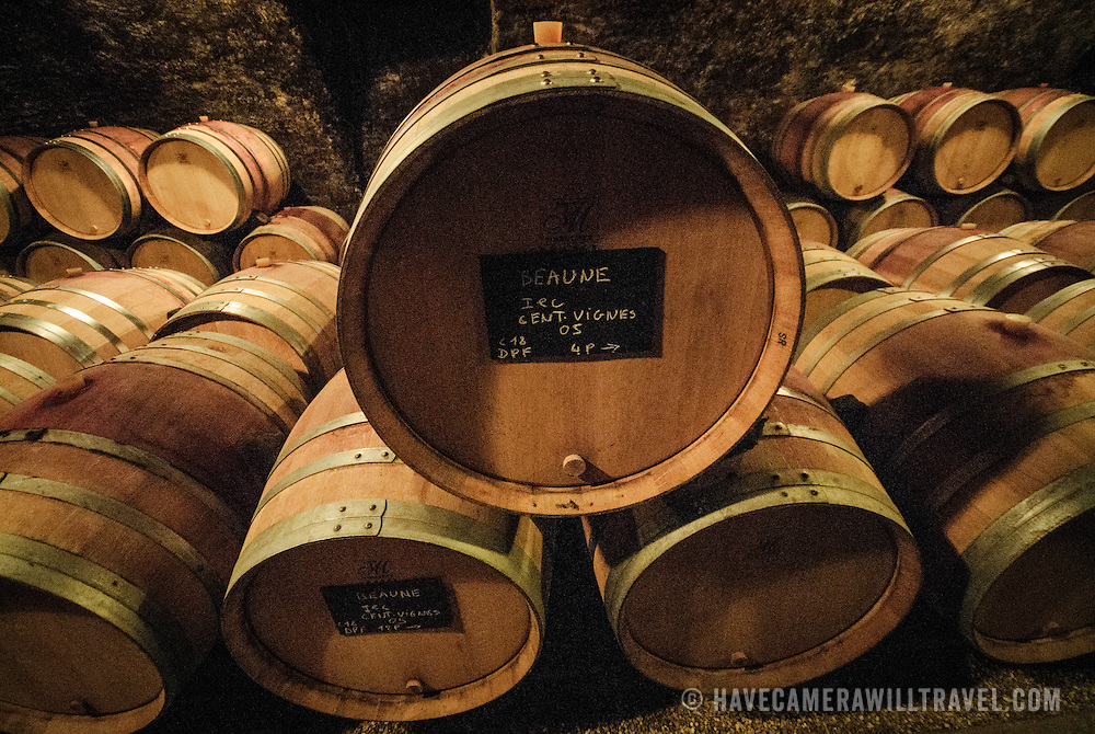 Barrels of wine in the cave at Dufouleur Pere et Fils<br /> Nuits-St-Georges, Bourgogne (Burgundy). NB: image includes some image noise