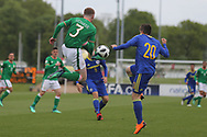 Kameron Ledwidge of Republic of Ireland (3) and Armin Saric of of Bosnia and Herzegovina (20) during the UEFA European Under 17 Championship 2018 match between Bosnia and Republic of Ireland at Stadion Bilino Polje, Zenica, Bosnia and Herzegovina on 11 May 2018. Picture by Mick Haynes.