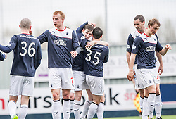 Falkirk's Blair Alston celebrates after scoring their second goal.<br /> half time : Falkirk v Cowdenbeath, Scottish Championship game played today at The Falkirk Stadium.<br /> © Michael Schofield.