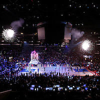 11 May 2014: General view of the court during the players introduction prior to the Los Angeles Clippers 101-99 victory over the Oklahoma City Thunder, during Game Four of the Western Conference Semifinals of the NBA Playoffs, at the Staples Center, Los Angeles, California, USA.