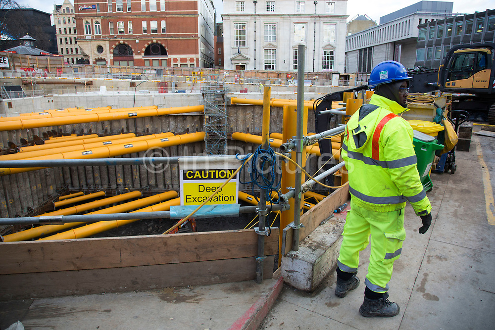 Construction site for a new hotel in Leicester Square, London, England, United Kingdom. Edwardian Hotels London have begun the development of a new 350 bedroom hotel and cinema complex.