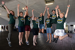 Volunteers excited for the race week ,during the pre race events held at the V&A Waterfront in Cape Town prior to the start of the 2017 Absa Cape Epic Mountain Bike stage race held in the Western Cape, South Africa between the 19th March and the 26th March 2017<br /> <br /> Photo by Emma Hill/Cape Epic/SPORTZPICS<br /> <br /> PLEASE ENSURE THE APPROPRIATE CREDIT IS GIVEN TO THE PHOTOGRAPHER AND SPORTZPICS ALONG WITH THE ABSA CAPE EPIC<br /> <br /> ace2016