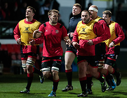 Dragons players run back to the changing rooms<br /> <br /> Photographer Simon King/Replay Images<br /> <br /> Guinness Pro14 Round 10 - Dragons v Ulster - Friday 1st December 2017 - Rodney Parade - Newport<br /> <br /> World Copyright © 2017 Replay Images. All rights reserved. info@replayimages.co.uk - www.replayimages.co.uk