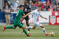 May 28, 2018 - Chester, PA, U.S. - CHESTER, PA - MAY 28: United States midfielder Christian Pulisic (10) dribbles the ball past Bolivia midfielder Fernando Saucedo  (10) during the international friendly match between the United States and Bolivia at the Talen Energy Stadium on May 28, 2018 in Chester, Pennsylvania. (Photo by Robin Alam/Icon Sportswire) (Credit Image: © Robin Alam/Icon SMI via ZUMA Press)