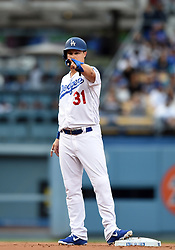 May 12, 2018 - Los Angeles, CA, U.S. - LOS ANGELES, CA - MAY 12: Los Angeles Dodgers Outfield Joc Pederson (31) points towards first after advancing to second on a single by Los Angeles Dodgers Outfield Matt Kemp (27) (not pictured) during a Major League Baseball game between the Cincinnati Reds and the Los Angeles Dodgers on May 12, 2018 at Dodger Stadium in Los Angeles, CA. (Photo by Chris Williams/Icon Sportswire) (Credit Image: © Chris Williams/Icon SMI via ZUMA Press)