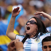 Argentina fans celebrate a goal during the Brazil V Argentina International Football Friendly match at MetLife Stadium, East Rutherford, New Jersey, USA. 9th June 2012. Photo Tim Clayton