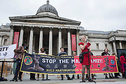 Dr Gail Bradbrook, co-founder of Extinction Rebellion, addresses fellow environmental activists in Trafalgar Square on the first day of Impossible Rebellion protests on 23rd August 2021 in London, United Kingdom. Extinction Rebellion are calling on the UK government to cease all new fossil fuel investment with immediate effect.