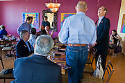 13 OCTOBER 2010 - TUCSON, AZ: Terry Goddard laughs at a joke during an appearance at Feast in Tucson where he met with business people and independent voters. Goddard spent the day in Tucson campaigning. Goddard lost the election to sitting Governor Jan Brewer, a conservative Republican.     PHOTO BY JACK KURTZ