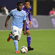 Steven Mendoza, NYCFC, in action during the New York City FC Vs Orlando City, MSL regular season football match at Yankee Stadium, The Bronx, New York,  USA. 18th March 2016. Photo Tim Clayton