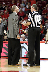 13 December 2015: Dan Muller and Brad Ferrie discuss a situation. Illinois State Redbirds host the Murray State Racers at Redbird Arena in Normal Illinois (Photo by Alan Look)