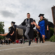 """23.08.2016        <br /> Over 300 students graduated from the Faculty of Arts, Humanities and Social Science at the University of Limerick today. <br /> <br /> Attending the conferring ceremony were Bachelor of Arts in Irish Music and Dance graduates, Laura Lundy, Tubbercurry Co. Sligo, Cian O'Flynn, Cappamoore Co. Limerick and Aoife McCarthy, Cork City. Picture: Alan Place.<br /> <br /> <br /> <br /> <br /> UL Graduates Employability remains consistently high as they are 14% more likely to be employed after Graduation than any other Irish University Graduate<br /> Each year, the Careers Service collects information about the 'First Destinations' of UL graduates. During the April/May period following graduation, we survey those who have completed full-time undergraduate and postgraduate courses for details on their current status. This current survey was conducted nine months after graduation and focuses on the employment and further study patterns of the graduates of 2015. A total of 2,933 graduates were surveyed and a response rate of 87% was achieved. <br /> As the University of Limerick commences four days of conferring ceremonies which will see 2568 students graduate, including 50 PhD graduates, UL President, Professor Don Barry highlighted the continued demand for UL graduates by employers; """"Traditionally UL's Graduate Employment figures trend well above the national average. Despite the challenging environment, UL's graduate employment rate for 2015 primary degree-holders is now 14% higher than the HEA's most recently-available national average figure which is 58% for 2014"""". The survey of UL's 2015 graduates showed that 92% are either employed or pursuing further study."""" Picture: Alan Place"""