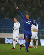 Kenneth Zohore of Cardiff city celebrates after he scores his teams 1st goal. EFL Skybet championship match, Cardiff city v Fulham at the Cardiff city stadium in Cardiff, South Wales on Boxing Day, Tuesday 26th December 2017.<br /> pic by Andrew Orchard, Andrew Orchard sports photography.
