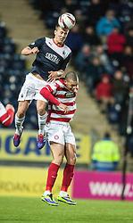 Falkirk's Will Vaulks over Hamilton's Mickeal Antoine-Curier.<br /> Falkirk 0 v 0 Hamilton, Scottish Championship game at The Falkirk Stadium. © Michael Schofield 2014.