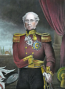 Fitzroy H J Somerset, 1st Baron Raglan (1788-1855) British soldier; on Wellington's staff 1808-1812. Lost his sword arm at Waterloo. Commander-in-Chief of British troops in Crimean War. Gave the order for Charge of the Light Brigade at Balaclava 1854. Engraving.