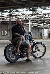 Painter Rusty Nash built this 1983 Shovelhead custom in Murrells Inlet, SC with welding by Chadwell Metalworks, help all along the way from Andrew Minervini and lots of other friends. Photographed after the Congregation Show. Charlotte, NC. USA. Sunday April 15, 2018. Photography ©2018 Michael Lichter.
