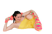 Young flexible woman On white Background