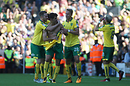 Norwich City Forward Nelson Oliveira © celebrates with teammates after scoring his teams first goal. EFL Skybet football league championship match, Fulham  v Norwich city at Craven Cottage in London on Saturday 5th August 2017.<br /> pic by Steffan Bowen, Andrew Orchard sports photography.