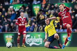 Morten Frendrup (Brøndby IF) og Frederik Gytkjær (Lyngby BK) under kampen i 3F Superligaen mellem Brøndby IF og Lyngby Boldklub den 1. marts 2020 på Brøndby Stadion (Foto: Claus Birch).
