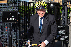 © Licensed to London News Pictures. 23/05/2019. London, UK. Boris Johnson MP, who has announced his intention to run for the leadership of the Conservative party, leaves Parliament on his bicycle. Photo credit: Rob Pinney/LNP
