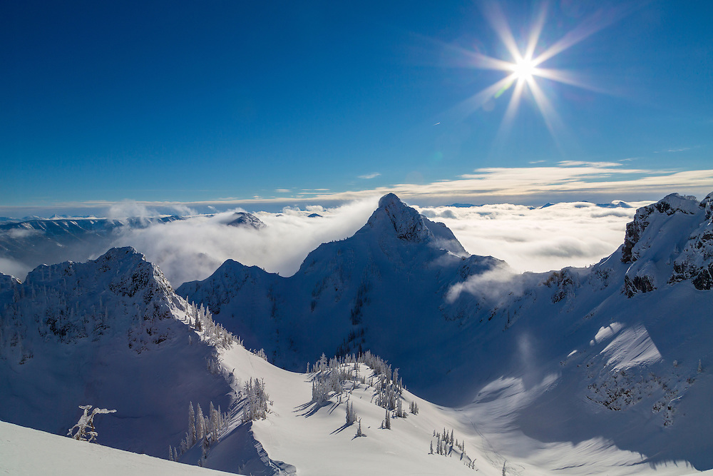 Beautiful day and sunshine from the top of Island Lake Lodge in Fernie, BC, Canada is a Cat Skiing Destination