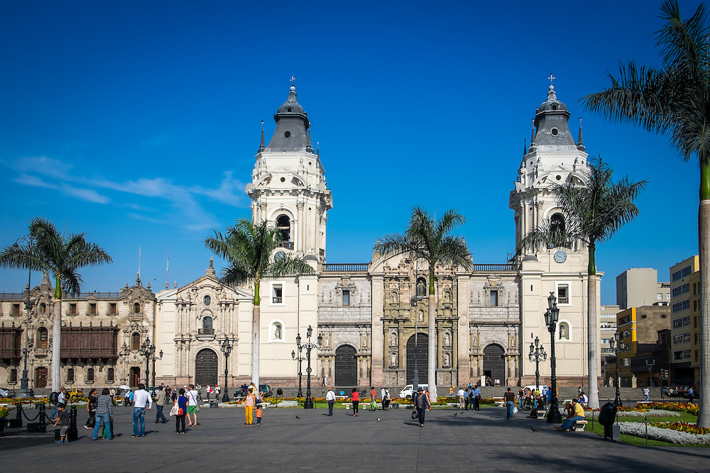 LIMA, PERU - CIRCA APRIL 2014: View of the Lima Cathedral from the Plaza Mayor in the Lima Historic Centre in Peru