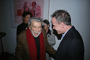Alain Robbe Grillet and Hans Obrist Ulrich, Party hosted by Sir Richard and Lady Ruth Rogers at their house in Chelsea  to celebrate the extraordinary achievement of completing this year's Pavilion  by Olafur Eliasson and Kjetil Thorsenat at the Serpentine.  13 September 2007. -DO NOT ARCHIVE-© Copyright Photograph by Dafydd Jones. 248 Clapham Rd. London SW9 0PZ. Tel 0207 820 0771. www.dafjones.com.
