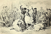 Un baile de candil (bal des gens du peuple) dans le faubourg de Triana [A candle dance (people's ball) in the suburb of Triana, Seville] Page illustration from the book 'Spain' [L'Espagne] by Davillier, Jean Charles, barón, 1823-1883; Doré, Gustave, 1832-1883; Published in Paris, France by Libreria Hachette, in 1874