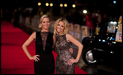 Denise Van Outen and Sarah Harding arrive for the Run For Your Wife - UK film premiere Odeon -Leicester Sq- London Brit comedy about a happily married man - with two wives, Tuesday  February 5, 2013. Photo: Andrew Parsons / i-Images