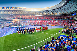 June 2, 2019 - Madrid, Spain - 190602 Players of Liverpool and of Tottenham during lineup ahead of the UEFA Champions League final between Tottenham and Liverpool on June 2, 2019 in Madrid..Photo: Petter Arvidson / BILDBYRÃ…N / kod PA / 92302 (Credit Image: © Petter Arvidson/Bildbyran via ZUMA Press)