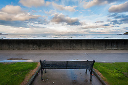 Wrought iron bench by the seawall at Stonehaven, Aberdeenshire, Scotland, UK.