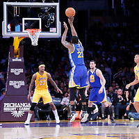 11 April 2014: Golden State Warriors forward Draymond Green (23) takes a jump shot during the Golden State Warriors 112-95 victory over the Los Angeles Lakers at the Staples Center, Los Angeles, California, USA.
