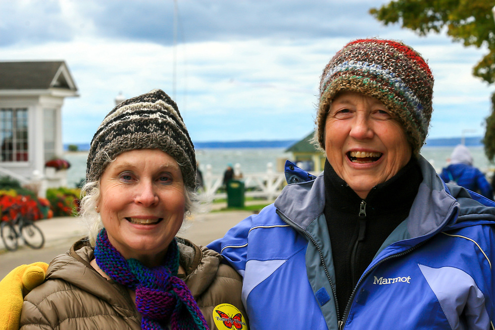 Mackinac Island visitors Patty Wood and Donna Corcoran, during Madison Diocesan Choir visit to the island. Photo taken October 3, 2015.