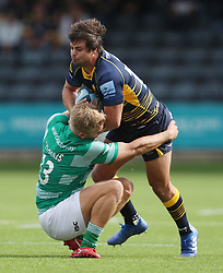Worcester Warriors Francois Venter is tackled by Newcastle Falcons Chris Harris during the Gallagher Premiership match at Sixways Stadium, Worcester.
