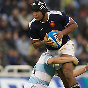 Thierry Dusautoir, France, in action during the Argentina V France test match at Estadio Jose Amalfitani, Buenos Aires,  Argentina. 26th June 2010. Photo Tim Clayton...