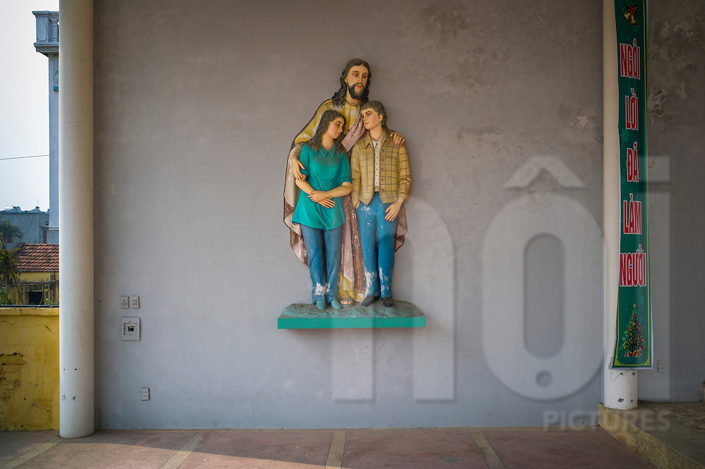 Religious wall piece in Bui Chu Church, one of the oldest churches in Vietnam (built in 1885) <br /> Xuan Ngoc Commune, Xuan Truong District<br /> , Nam Dinh Province, Vietnam, Southeast Asia