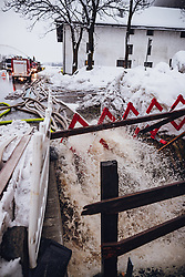 THEMENBILD - Wasserschläuche der Feuerwehr leiten Wasser ab am 17. November 2019 in Dölsach. Die extremen Schneefälle der vergangenen Tage sorgen in Teilen Österreichs für massive Gefahren und Behinderungen // Water pipes of the fire brigade drain off water. The extreme snowfalls of the past few days cause massive dangers and disabilities in parts of Austria, Lienz on 19/11/17. EXPA Pictures © 2019, PhotoCredit: EXPA/ JFK