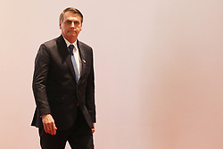 Brazil President Jair Bolsonaro arrives for the family photo at the G20 Osaka Summit in Osaka Prefecture on June 28, 2019. Photo by Ludovic Marin/AFP/ABACAPRESS.COM