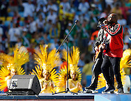 Wyclef Jean performs during the 2014 FIFA World Cup Final match at Maracana Stadium, Rio de Janeiro<br /> Picture by Andrew Tobin/Focus Images Ltd +44 7710 761829<br /> 13/07/2014