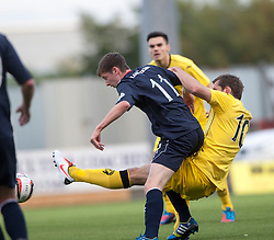 Falkirk's Conor McGrandles and Queen of the South's Michael Paton.<br /> half time : Falkirk 1 v 0 Queen of the South, Scottish Championship 5/10/2013.<br /> ©Michael Schofield.