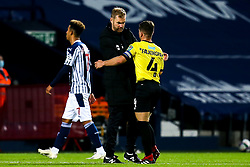 Harrogate Town manager Simon Weaver hugs Josh Falkingham of Harrogate Town - Mandatory by-line: Robbie Stephenson/JMP - 16/09/2020 - FOOTBALL - The Hawthorns - West Bromwich, England - West Bromwich Albion v Harrogate Town - Carabao Cup