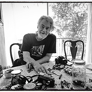 Photograph of Roger Steffens at his home and also the location of the reggae archives. in Echo Park, CA. June 2019
